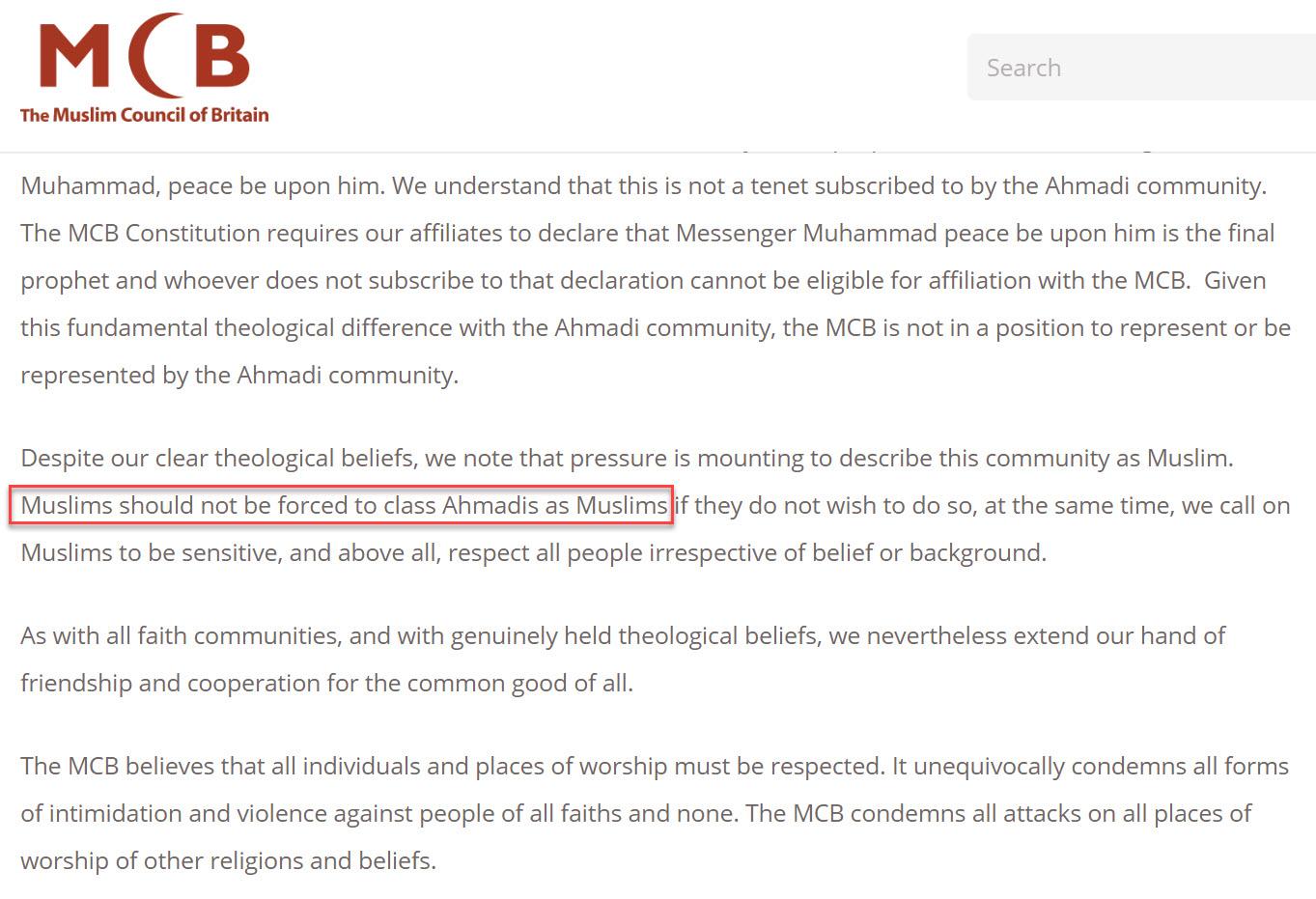 Islam-Ahmadi-MCB-Rejection